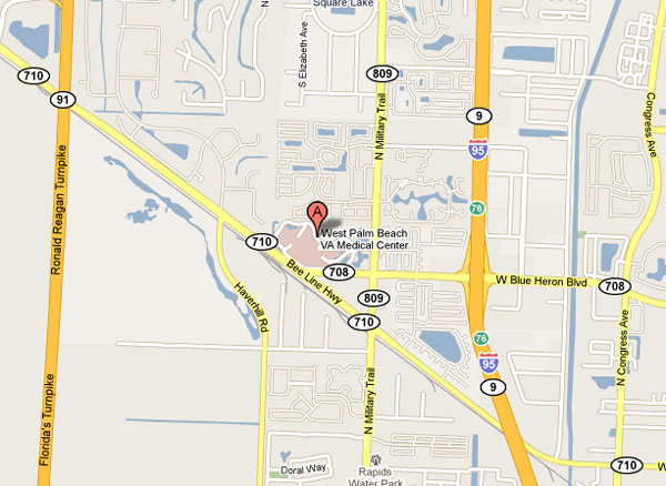 Map of the area surrounding the West Palm Beach VA Medical Center