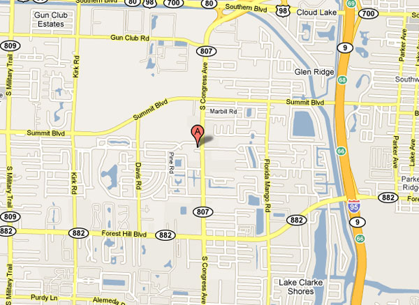 Map of the ara around our West Palm Beach Main Office.