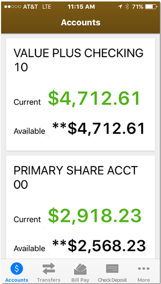 Screenshot of a sample a account on the iPhone mobile banking app