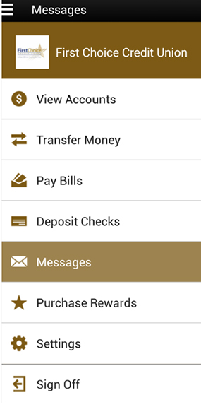 Screenshot of a sample a account on the Android mobile banking app